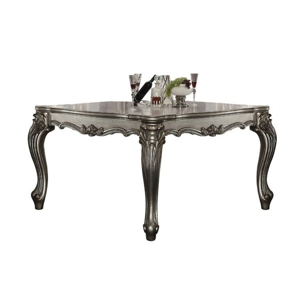 Scrolled Pattern Wooden Counter Height Table with cabriole Legs, Silver