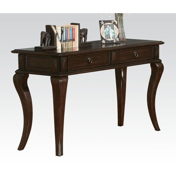 Transitional Style Wood and Metal Sofa Table with Drawers, Brown