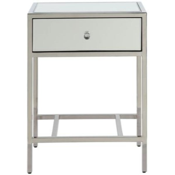 Mirrored Wooden End Table with Metal Framework, Silver
