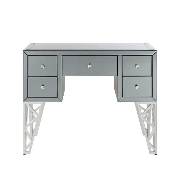 Five Drawer Console Table With Geometric Cut-Out Metal Legs, Silver