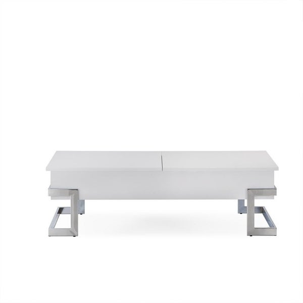 Wooden Coffee Table With Lift Top Storage Space, White