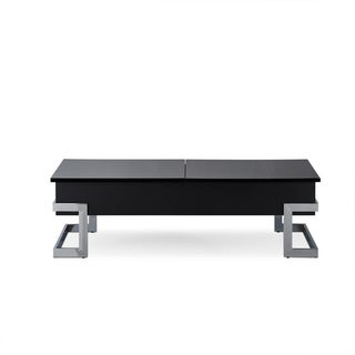 Wooden Coffee Table With Lift Top Storage Space, Black
