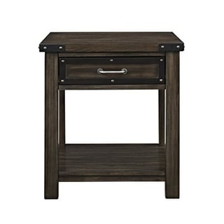 Wooden One Drawer And Bottom Shelf End Table, Rustic Brown