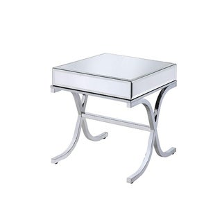 Contemporary Style Metal and Mirror Square End Table, Silver