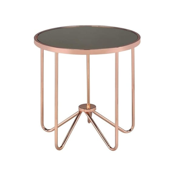 Round Glass End Table With Metal Base, Rose Gold