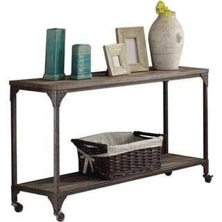 Industrial Style Metal and Wood Rectangular Sofa Table, Oak Brown