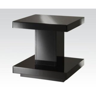 Contemporary Style Wooden End Table with Pedestal Base, Glossy Black