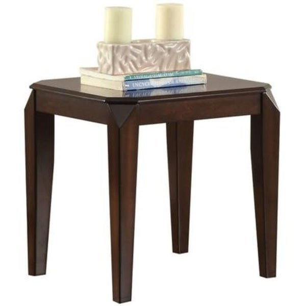 Wooden End table with Beveled Tapered Legs, Walnut Brown