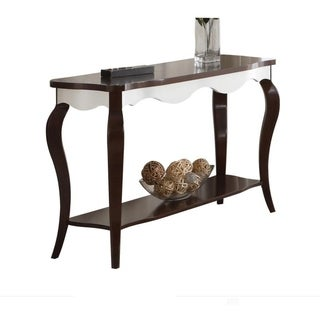 Rectangular Wooden Sofa Table with Cabriole Legs, Walnut Brown and White