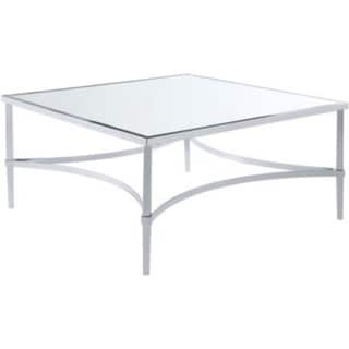 Contemporary Style Metal Coffee Table with Mirrored Glass Top, Silver
