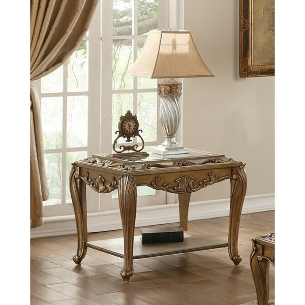 Wooden End Table with One shelf and Beveled Edge Mirrored Top, Antique Gold