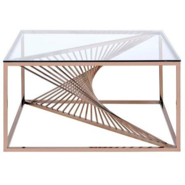 Metal Framed Coffee Table With
