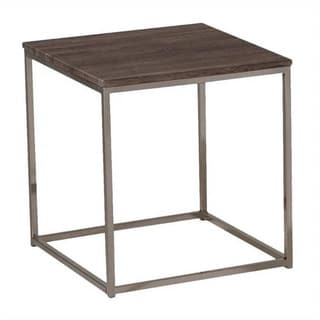 Square Wood Top End Table With Metal Base, Brown