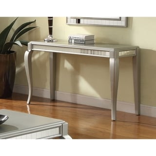 Mirror Trim Rectangle Sofa Table With Wooden Cabriole Legs, Champagne Silver