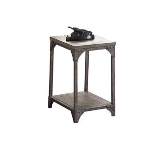 Industrial Style Metal and Wood Rectangular End Table, Oak Brown