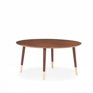 Wooden Round Coffee Table With Dual Color Feet, Brown