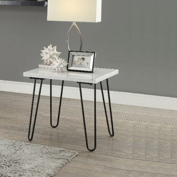 Marble Coffee Table With Copper Legs: Shop White Marble Top Coffee Table With Metal Hairpin