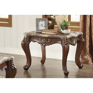 Traditional Style Marble and Wood Square End Table, Brown