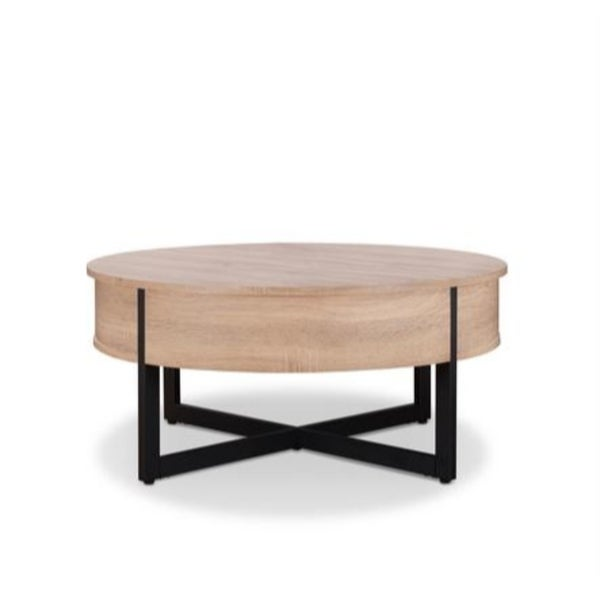 Shop Round Wood And Metal Coffee Table With One Drawer