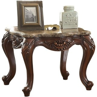 Marble Top End Table With Motif Engraved Angular Wood Feet, Brown
