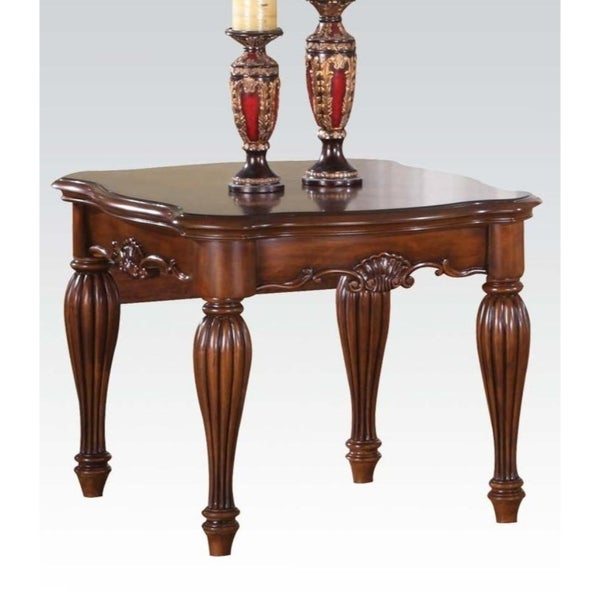 Wooden End Table with Carved Details, Cherry Brown