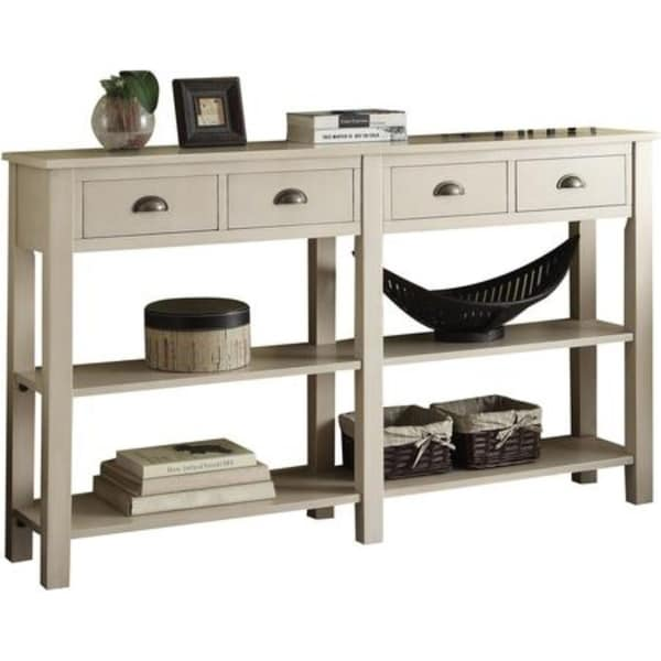 Shop Wooden Console Table With Four Drawers And Two Shelves Cream