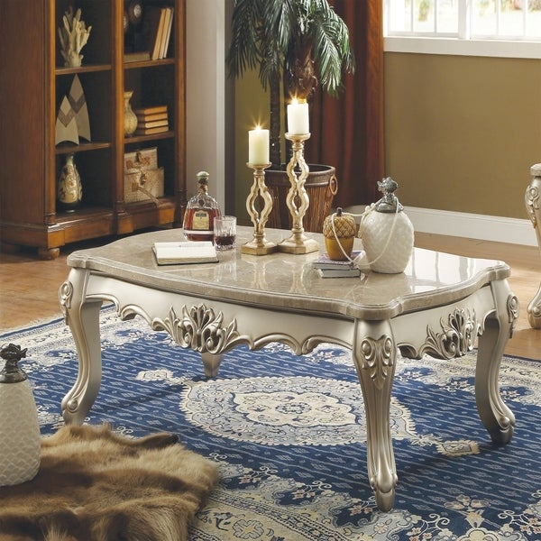 Marble Top Wooden Coffee Table With Queen Anne Style Legs, Champagne Gold