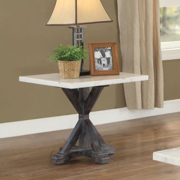 Marble Top End Table With Wooden Tri-Pod Base, White And Espresso Brown