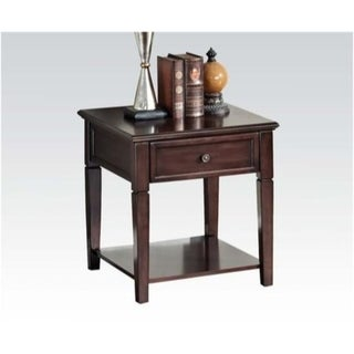 Wooden End Table with One Drawer and One Shelf, Walnut Brown
