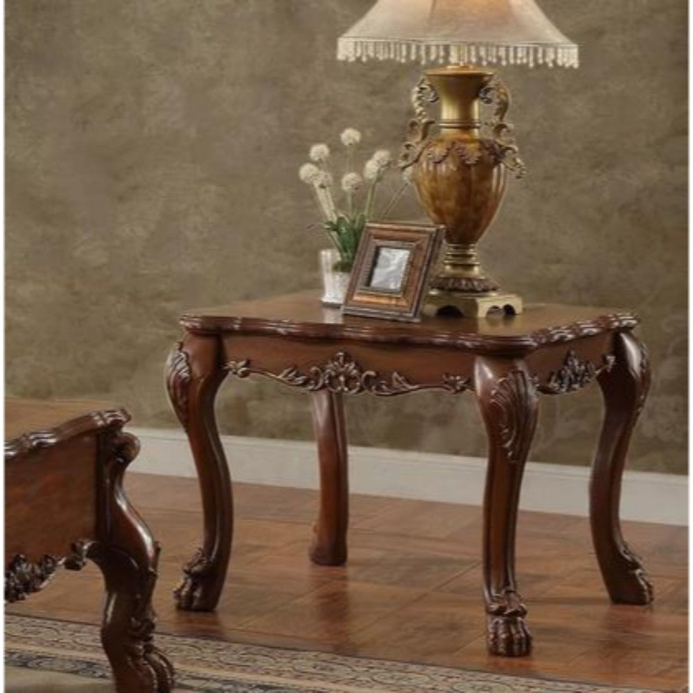 Awe Inspiring Traditional Wooden End Table With Claw Feet Cherry Oak Brown Theyellowbook Wood Chair Design Ideas Theyellowbookinfo
