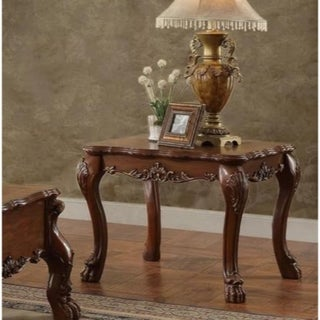 Traditional Wooden End Table with Claw Feet, Cherry Oak Brown