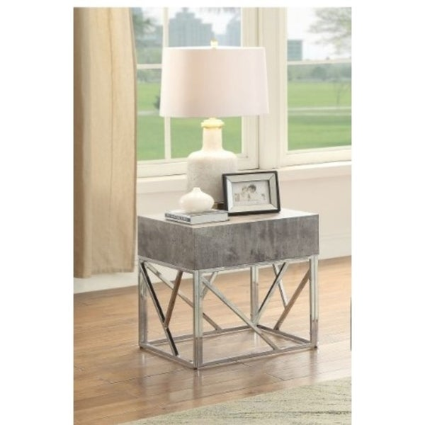 Faux Marble Square End Table With Metal Geometric Open Base, Gray and Silver