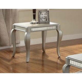 Mirror Trim Square End Table With Wooden Cabriole Legs, Champagne Silver