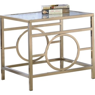 Glass Top End Table With Metal Base, Gold