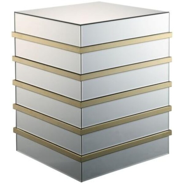 Square Shape Mirror End Table with Geometric Base, Gold and Mirror