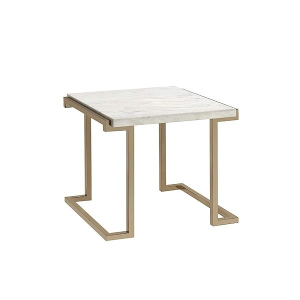Marble Top End Table With Metal Base, White And Gold