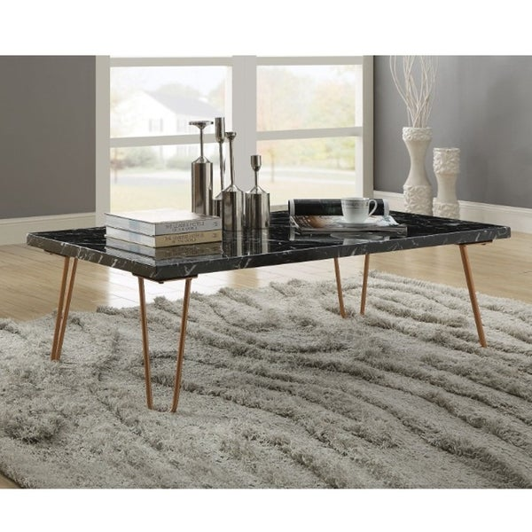 Coffee Table Legs Gold: Shop Rectangular Coffee Table With Metal Hairpin Style