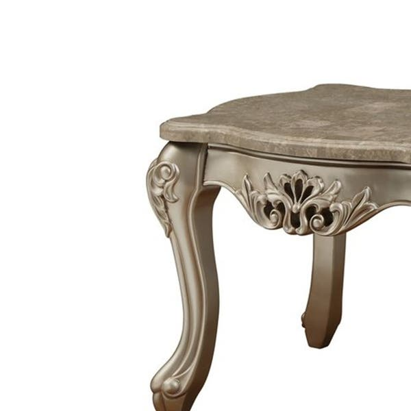 Shop Queen Anne Desk Chair Set Free Shipping Today >> Shop Marble Top Wooden End Table With Queen Anne Style Legs