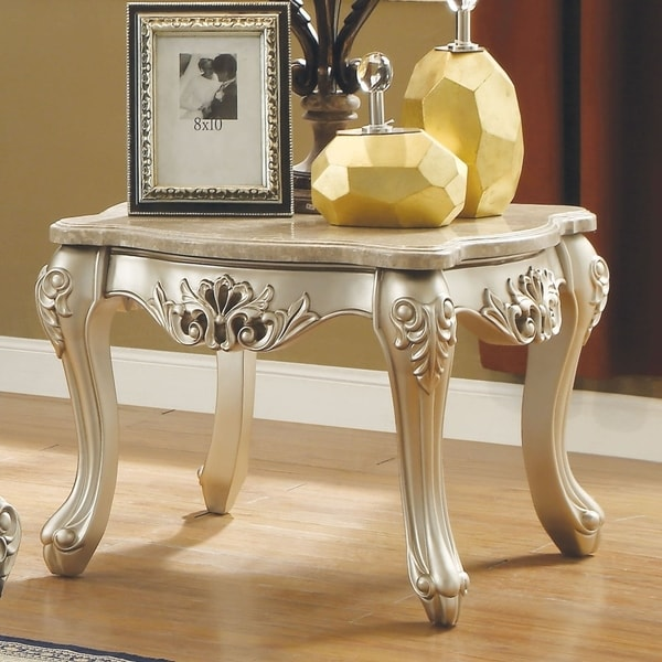 Marble Top Wooden End Table With Queen Anne Style Legs Champagne Gold