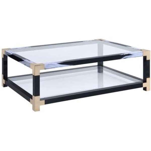 Glass And Metal Coffee Table With Shelf: Shop Rectangular Metal Coffee Table With Glass Top And