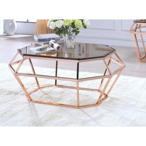 Octagon Shaped Glass Coffee Table With Geometric Metal Base, Copper