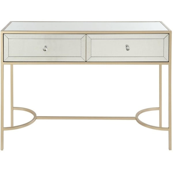 Modern Style Metal and Mirror Sofa Table with 2 Drawers, Gold