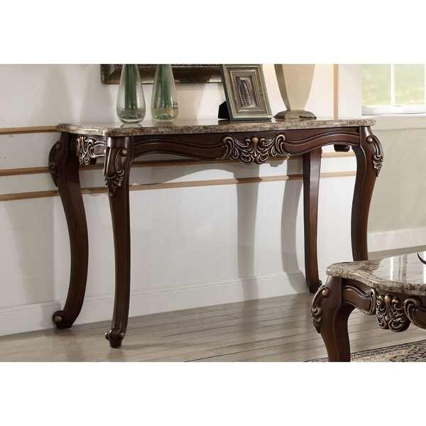 Shop Marble Top Sofa Table With Carved Floral Motifs Wooden Feet