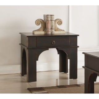 Rectangular Wooden End Table With Ring Pull Drawer, Antique Espresso Brown