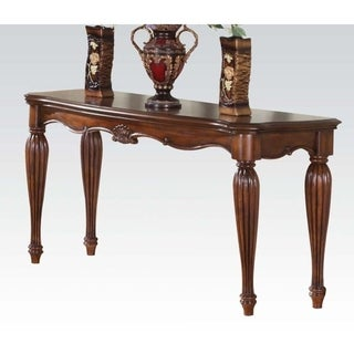 Wooden Sofa Table with Carved Details, Cherry Brown