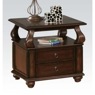 Transitional Wooden End Table with Two Drawers and Open Shelf, Walnut Brown