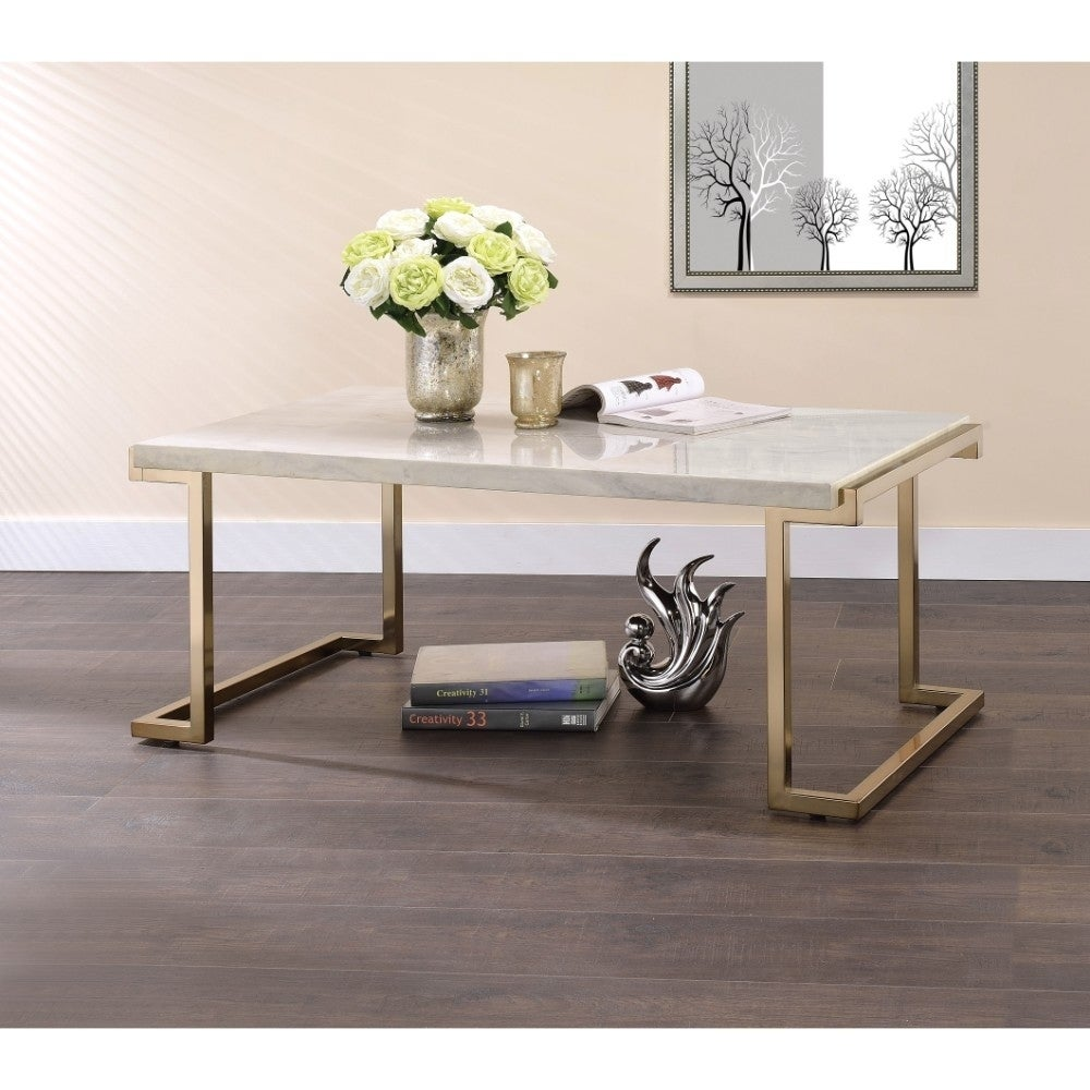 Marble Top Coffee Table With Metal Base White And Gold