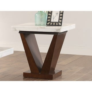"""Square Marble Top End Table With Wooden """"V"""" Shape Base, White And Brown"""