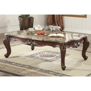 Traditional Style Marble and Wood Rectangular Coffee Table, Brown