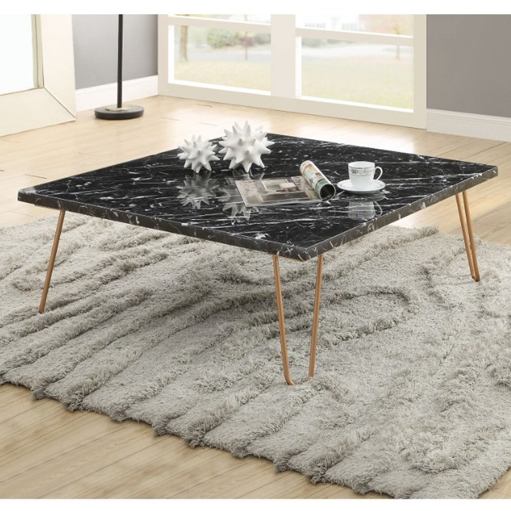 Black Marble Top Coffee Table With